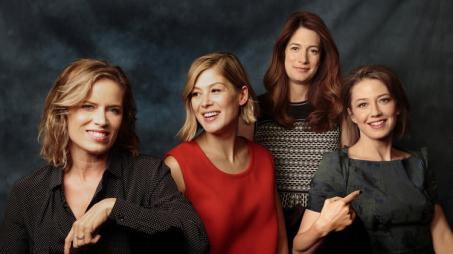The women of 'Gone Girl,' L-R: Kim Dickens, Rosamund Pike, Flynn, and Carrie Coon.